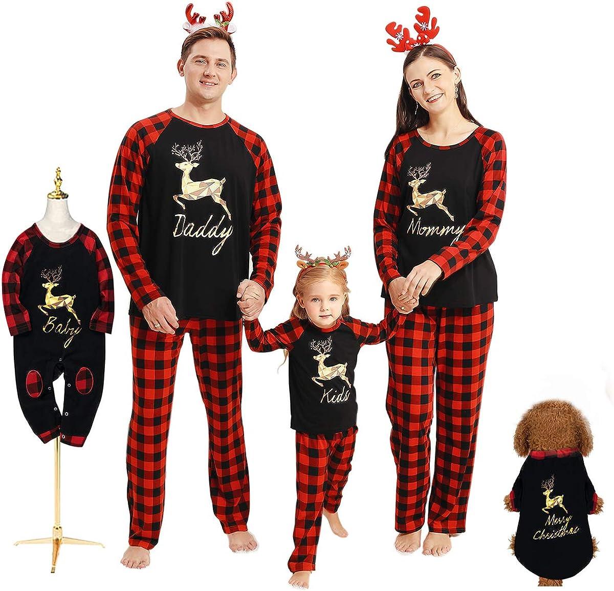 Borlai Familienweihnachtspyjama-Set Passend zu Weihnachten Plaid Pjs Nachtw/äsche f/ür M/änner Frauen Kinder Kinder Baby Haustiere