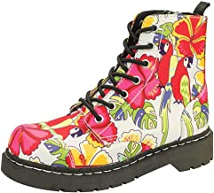T.U.K. Shoes Women's Anarchic By T.U.K. 7 Eye Boot Parrot Tropical Print