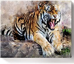 LEO BON DIY Oil Paint by Number Kit,Psychedelic Roaring Tiger in Watercolors Drawing for Kids and Adults Beginner, Painting 16 by 20inch