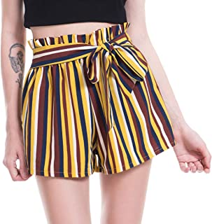 120329f2d Amormio Women's Casual Polka Dot Ruffle Bow-Tie Elastic Waist Summer Beach  Jersey Walking Shorts