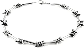 HZMAN Men's Punk Gothic Alloy Barbed Wire Necklace 20 Inch