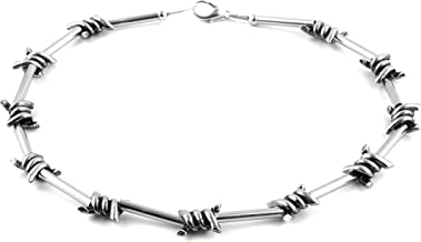 HZMAN Men's Punk Gothic Bike Alloy Barbed Wire Necklace 20 Inch