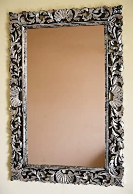 Monica Mango Wood Carved Design Wall Mirror Frame in Silver Foil Finish for Living Room Bedroom Or Beauty Saloon