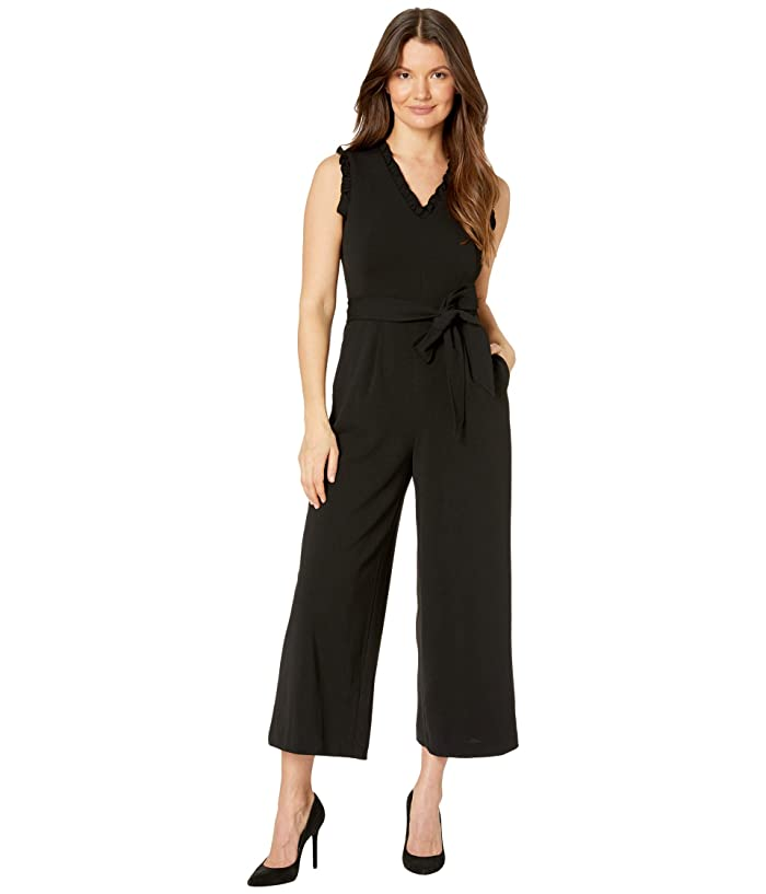 Belted Ruffle Neck and Arm Jumpsuit (Black) Women's Jumpsuit & Rompers One Piece