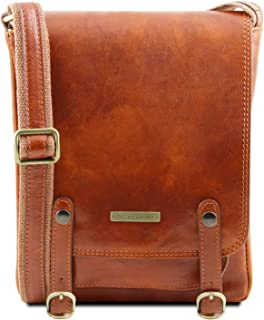 Tuscany Leather Roby Bolso para Hombre en Piel con Bandolera y Hebillas Miel