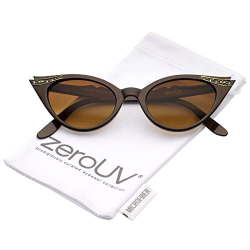 2cc2000c1a zeroUV - 50s Vintage Cat Eye Sunglasses for Womens with Rhinestones Pinup  Girl Clothing Rockabilly Accessories