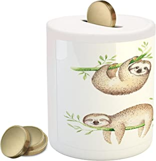Ambesonne Sloth Piggy Bank, Babies in Tropical Nature Theme Exotic Palm Tree Leaves Nursery Aloha, Ceramic Coin Bank Money Box for Cash Saving, 3.6