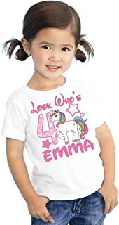 Look Whos Girls Kids Youth My Little Unicorn Pony Personalized Birthday T Shirt Tee Custom Name Age Cute Magic Gift Ideas