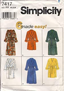 Simplicity Sewing Pattern 7417 - Use to Make - Unisex Robes - 6 Styles - Sizes XS, S, M