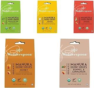 Wedderspoon Organic Manuka Honey Drops -Ginger, Lemon, Eucalyptus, Honey and Fennel&Cinnamon (set of 5)
