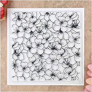 KWELLAM Flowers Background Clear Stamps for Card Making Decoration and DIY Scrapbooking