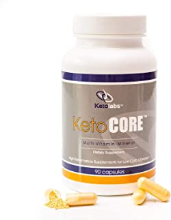 Ketolabs Keto Core Daily Multivitamin for Men and Women. Contains Electrolytes, Minerals, Vitamin B, C, D, E, & Probiotic. Zero Carb Health Supplement for Ketogenic, Intermittent Fasting, Atkins, and Low Carb Weight Loss Diets. 30 Day Supply. 90 Capsules.