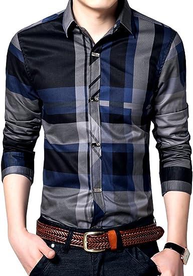 Womleys Camisa de vestir de manga larga para hombre con botones a presión