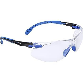 3M Safety Glasses, Solus 1000-Series Protective Eyewear, Black/Blue, Clear Scotchgard Anti-Fog Lens