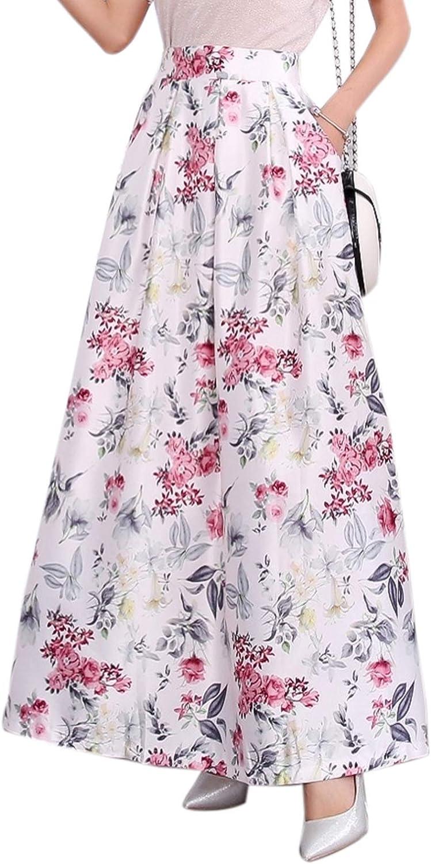 Elonglin Women's Maxi Long Skirts Vintage A-line High Waist Floral Print Pleated