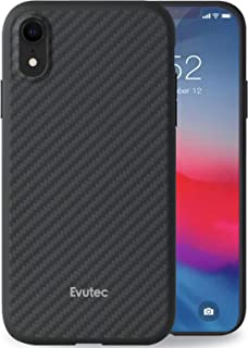 Evutec Compatible with iPhone XR Karbon Unique Hard Smooth heavy-duty Phone Case Cover Real Aramid Fiber Strong Protective Slim 1.6mm Durable (Black)-AFIX+ Free Vent Mount
