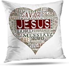 Pakaku Jesus Pillowcase, Throw Pillow Covers, I Love Jesus Words White Prayer God Home Sofa Cushion Cover Gift Double Sided Pattern 20 x 20 inch