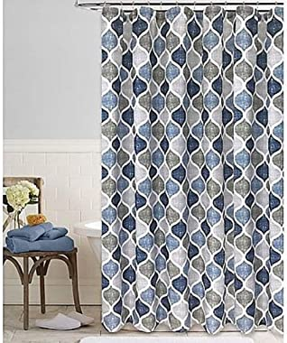 Shower Curtain Geometric Print In White Against A