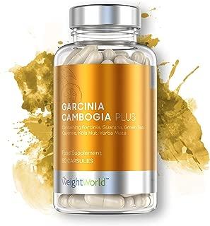 Garcinia Cambogia Plus en Cápsulas | Suplemento Alimenticio Natural de Control de Peso | Ayuda para Adelgazar | Contiene Maca, Té Verde y Cafeína | Cromo y Zinc para la glucosa | WeightWorld