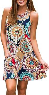 ZESICA Women's Summer Sleeveless Damask Print Pocket...