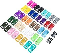 40 Pack 3/8 Inch Curved Plastic Buckles - DIY Craft Webbing Contoured Quick Side Release Buckles - for Bracelets, Tactical Bag Gear, Backpacks - 20 Colors