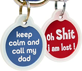 GoTags Funny Dog and Cat Tags Personalized with 4 Lines of Custom Engraved Text, Dog and Cat Collar ID Tags Come with Glow in The Dark Silencer to Protect Tag and Engraving