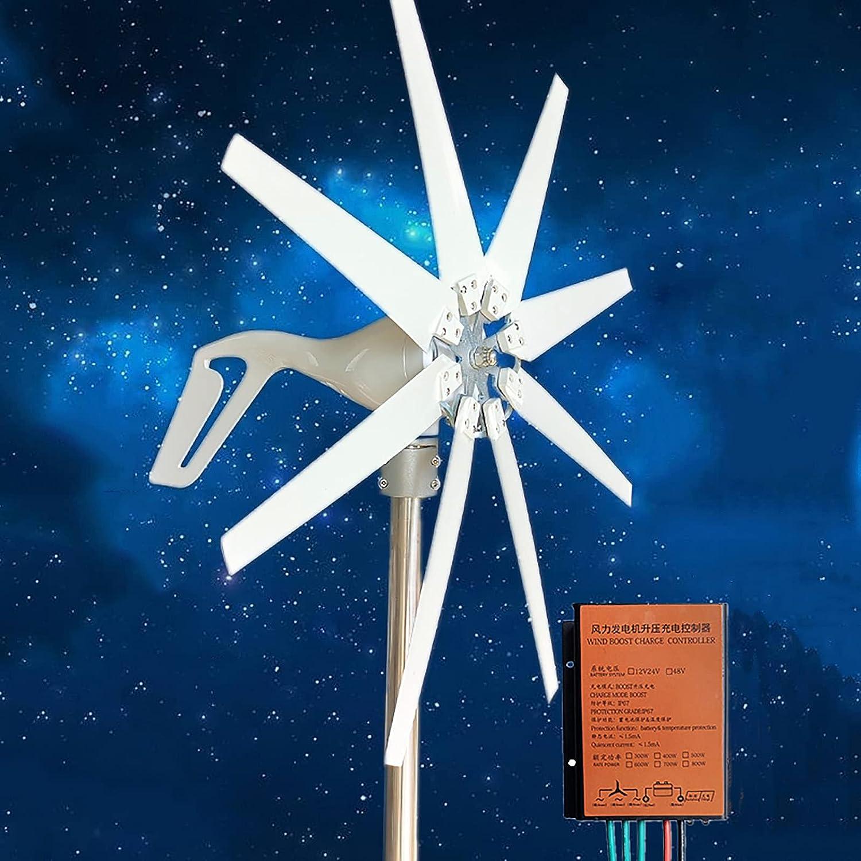 coldwind 8 Cuchillas Aerogeneradores,Generador De Turbinas Eólicas con Control Baja Velocidad De Arranque 12v 24v para Lámparas De Calle Home Farm Molino De Viento-400w 24v
