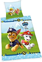 Herding Paw Patrol Bedding Set, Reversible, Pillow case 80 x 80 cm, Duvet Cover 135 x 200 cm, Cotton/Linen, Multi-Coloured