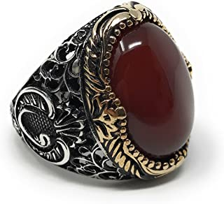 KAR 925K Stamped Sterling Silver Men Red Agate (Aqeeq) Ring I1Q