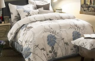 Wake In Cloud - Floral Comforter Set, Botanical Flowers Pattern Printed, 100% Cotton Fabric with Soft Microfiber Inner Fill Bedding (3pcs, Queen Size)