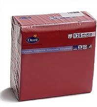 DUNI カラーナプキン 2PLY 4面折 ボルドー(ワインレッド) 40×40cm 125枚入
