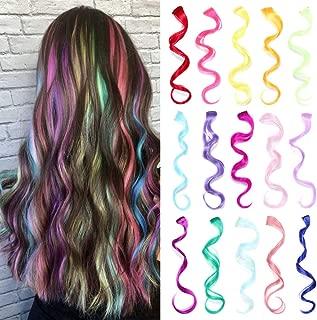 30 piezas Clip multicolores de en extensiones de cabello rizado, extensiones de postizos largos sintéticos para mujeres (15 colores)