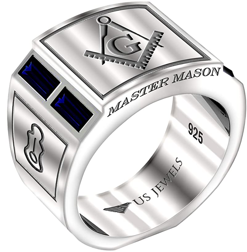 US Jewels And Gems Men's Blue Lodge 0.925 Sterling Silver Simulated Sapphire Freemason Masonic Ring, Sizes 8 to 14