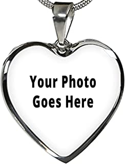 Personalized Photo Necklace Heart in Gold & Silver. Custom Picture Necklace Pets, Children and Couples.