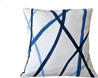 Cojín rayas azul, tendencias en decoración de la casa.BeccaTextile.