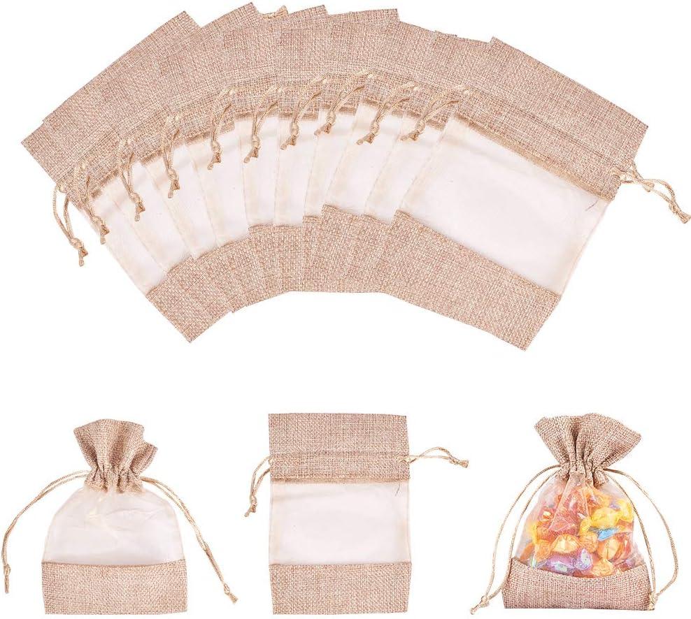 20 Pcs Pochettes Sachets en Coton 10x15cm Rectangle Sachet /à Cordon pour Bijoux Cadeau Mariage Sachets de Bonbon Sachet Lavande Beige PandaHall Elite