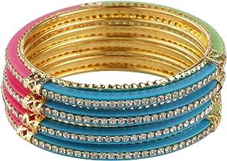 Indian Style Bollywood Traditional Gold Plated Crystal Stone Wedding Bracelet Bangle Set Jewelry