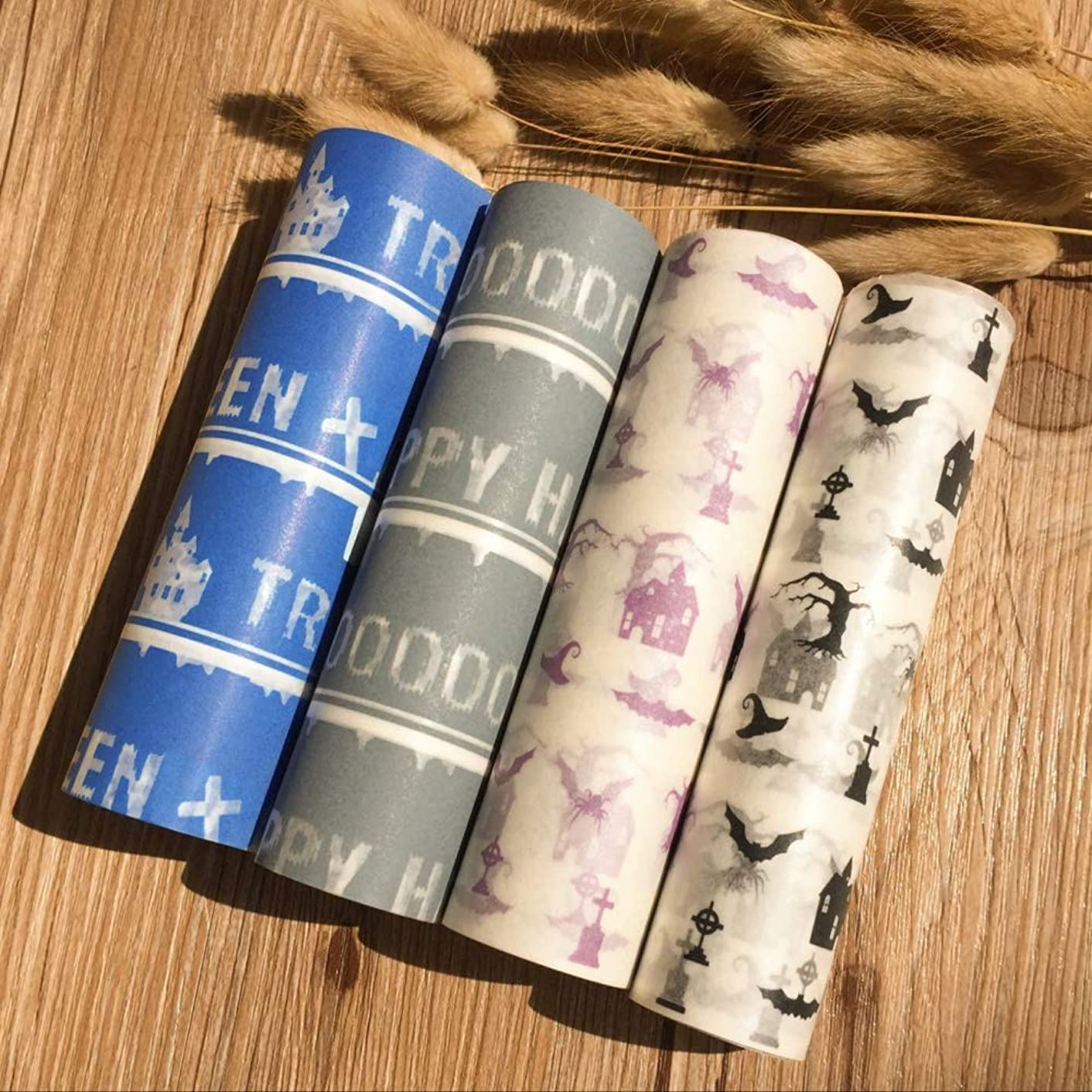 MZJ&J 80 pcs Halloween Wax Paper Food Colored Candy Wax Baking Greaseproof Wrapping Paper 12.5 * 25cm