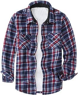 Men's Flannel Jacket Winter Sherpa Fleece Lined Plaid Shirt Outerwear
