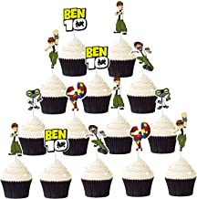 24PCS Ben 10 Cupcake Toppers Set for Kids Birthday Baby Shower Party Decorations