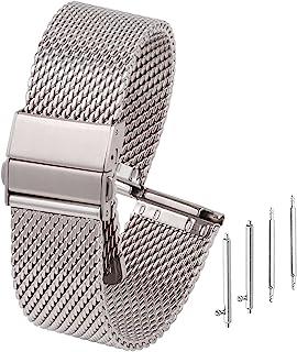 Adallor® Cinturino Orologio Smartwatch Watch Strap 22mm 20mm 18mm, Cinturino Maglia Intrecciata con Perni, Sgancio Rapido ...