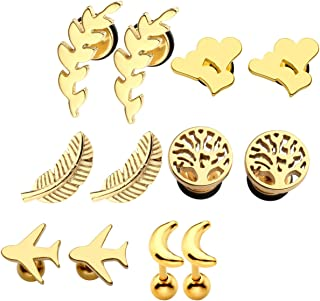 Gold/Silver 6 Pairs Pack Earring Studs Feather Moon Tree of Life Catkins Airplane Triple-Hearts 16G Cartilage Helix Tragus Ear Lobe Piercing Flat Back Ball Screw Mixed
