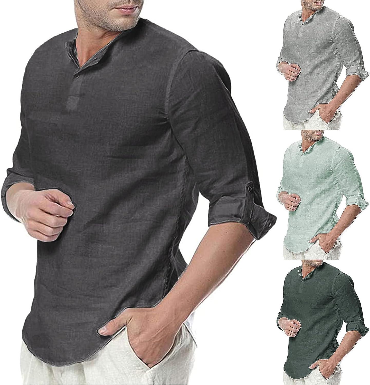 Lovor Mens Shirts Summer Linen Shirt Casual Short Sleeve 3/4 Sleeve V Neck Blouse Breathable Solid Color Loose Beach Shirt