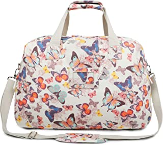 4e9992b6aa5d Oflamn 29L Large Floral Duffle Bag Water Resistant Canvas Travel Weekender  Overnight Gym Bag for Women