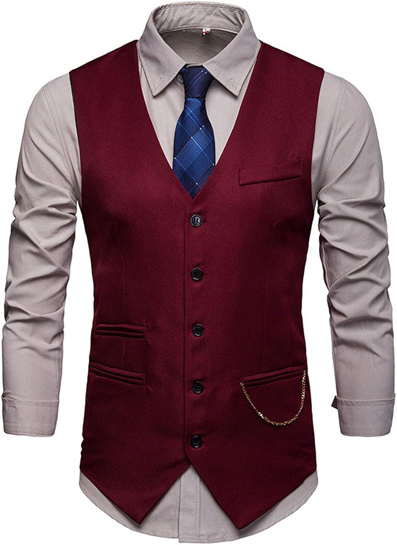 CNBPLS Men's Business Suit Vests,Nightclub Suit Vest Jacket,Solid Color Gentleman Suit Waistcoat,Wine red,L