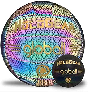 HoloGear Holographic Glowing Reflective Volleyball - Light Up with Camera Flash, Glow in The Dark Beach Volleyball, Gifts for Kids and Girls, Perfect Ball for Outdoor Night Game, Official Size