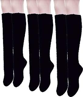 Women's Long Soft Knee High Warm Fuzzy Socks 3-pack Coral Velvet Cozy Fleece Slipper Socks