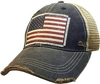 VINTAGE LIFE Distressed Washed Fun Baseball Trucker Mesh Cap (American Flag (Navy Blue))