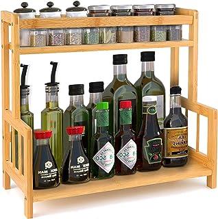 DOPGL Étagère à épices en bambou à 2 niveaux pour cuisine, comptoir de cuisine, étagère de rangement autonome, support sou...