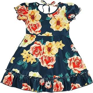Baby Girls Flower Print Buttons Ruffles Dress with Headband
